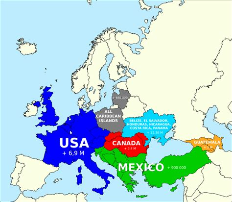 usa and europe map how the population of america fits into europe