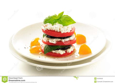 Cottage Cheese And Tomato by Stacked Eggplant Tomato And Cottage Cheese Stock Photo