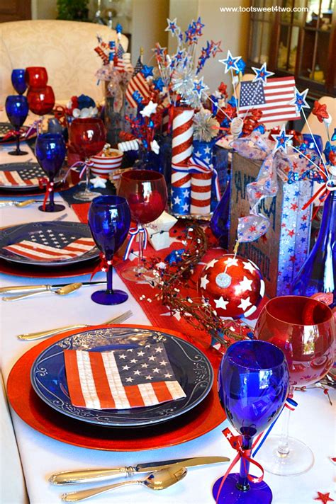 July 4th Table Decorations by Decorating The Table For 4th Of July Toot Sweet 4 Two