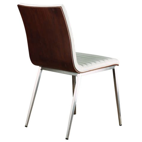 Stainless Steel Dining Chairs Caf 233 Brushed Stainless Steel Dining Chair In White Pu With Walnut Back Set Of 2