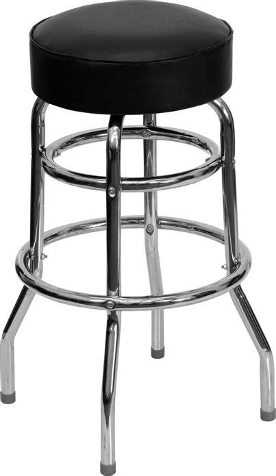 ring chrome barstool with black vinyl swivel seat