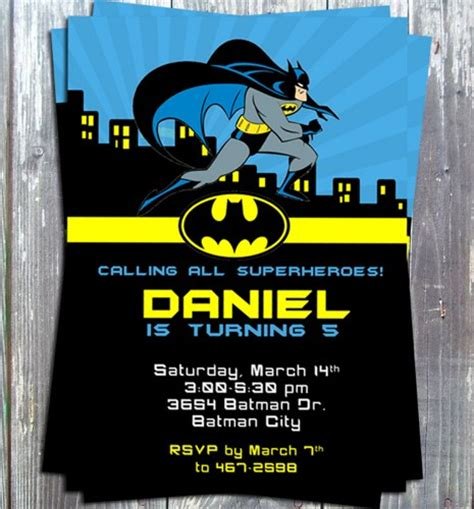 batman invitation template batman birthday theme invitation card