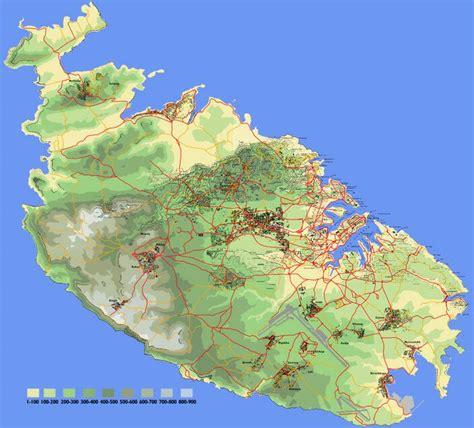 physical map of malta malta map and malta satellite image