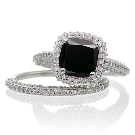 2 5 carat cushion cut designer black and