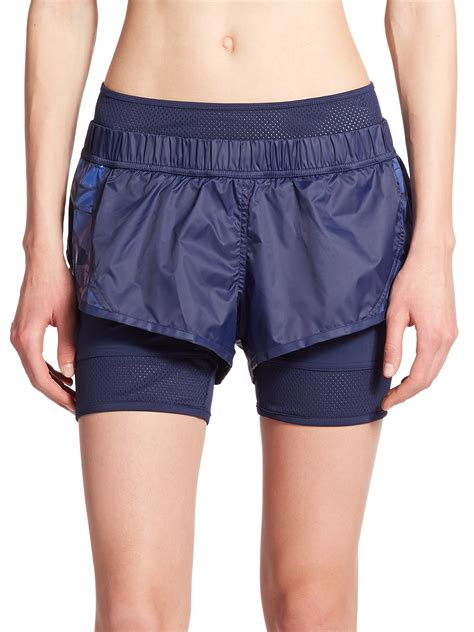 Adidas Stella Mc Cartney Running Shorts 1 adidas by stella mccartney woven mini running shorts in blue lyst
