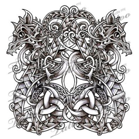norse dragons serpents tattoo design snake tattoo