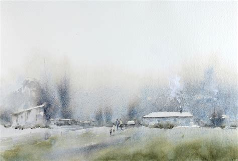 Painting Perspective Depth Distance In Watercolour foggy morning landscape watercolor universitywatercolor