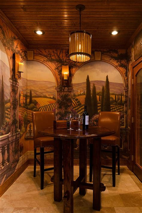 Wonderful Tuscan Inspired Home Decor #1: Custom-Tuscan-style-tasting-room-and-wine-cellar-with-a-unique-backdrop.jpg