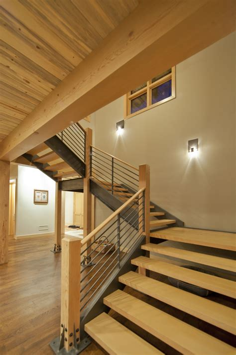 modern stair railing staircase transitional with container