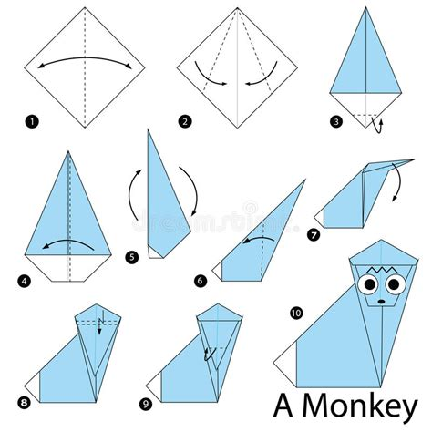 How To Make Origami Monkey - step by step how to make origami a monkey