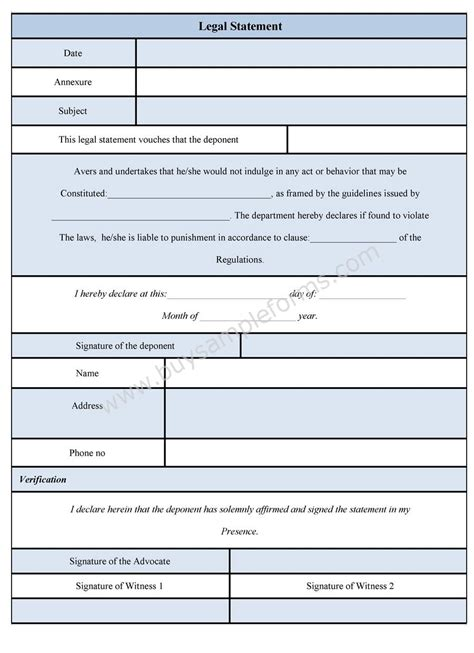 legal statement form legal statement format