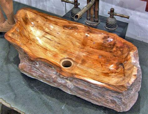 slab sink petrified wood sink with brown wood grains impact imports