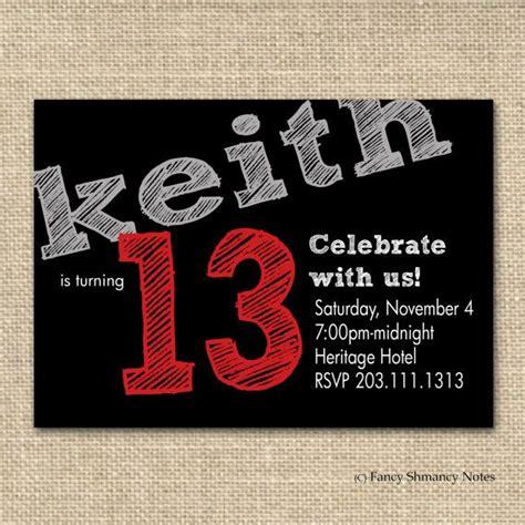 13th birthday invitations templates free boy s birthday invitation chalkboard by