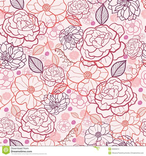 hand drawn pattern background line art flowers seamless pattern background stock images