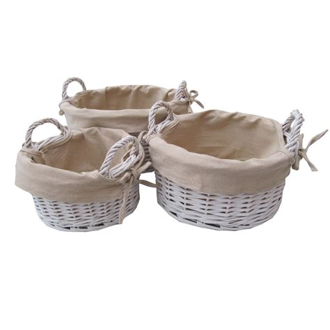 white with baskets round white wicker storage basket with handles
