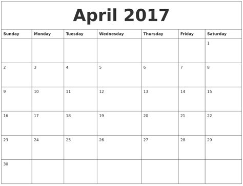 online printable calendar by month april 2017 free printable monthly calendar