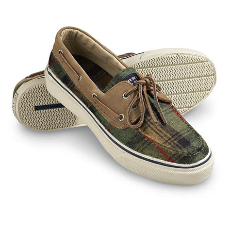 s sperry top sider 174 boat shoes brown green plaid