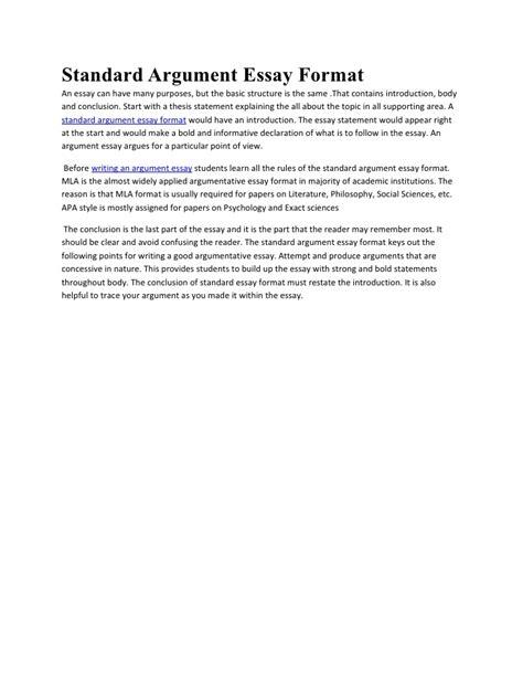 Essay Standard Format by Standard Essay Outline Format