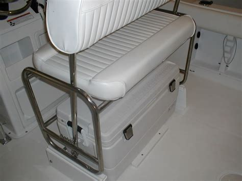bay boat cooler seat cooler seat converted to quot poor man s leaning post quot in