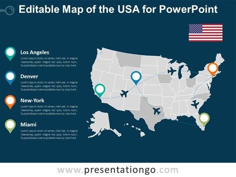 Usa Editable Powerpoint Map Presentationgo Com Usa Powerpoint Template