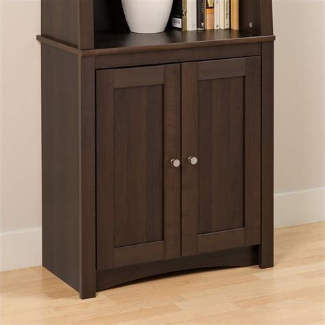 espresso bookcase with doors slant back bookcase with shaker doors in espresso esbh
