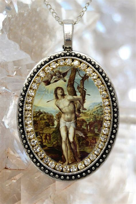 Handmade Religious Jewelry - sebastian handmade charm necklace catholic