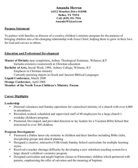 Resume For Preschool by 9 Preschool Resume Templates Pdf Doc Free
