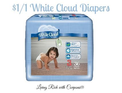 white cloud coupon    bag  box  white cloud diapers living rich  coupons