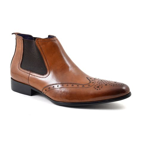 buy designer mens brown brogue chelsea boots gucinari