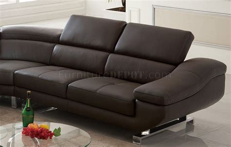 Pantek Furniture by S805 Sectional Sofa In Chocolate Leather By Pantek