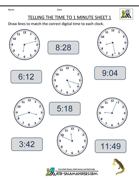 Telling Time To The Hour Worksheets by Free Clock Worksheets Telling The Time To 1 Min 1