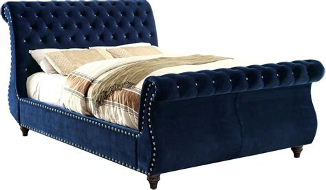 king upholstered sleigh bed noella navy cal king upholstered sleigh bed cm7128nv ck