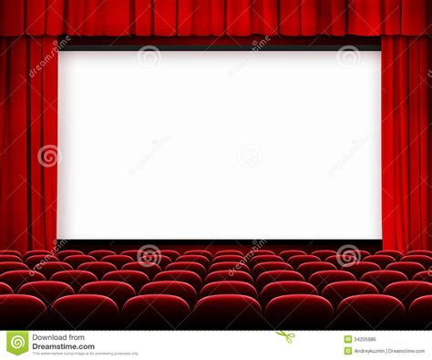 red curtain movies cinema screen with red curtains and seats stock photo