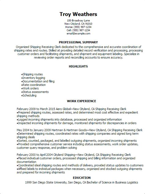 Professional Summary For Clerical Resume Shipping Receiving Clerk Resume Template Best Design