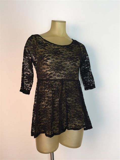 Patchwork Baby Doll Empire Waist Blouse Top by Black Lace Babydoll Top Empire Waist See From Rocket Shop