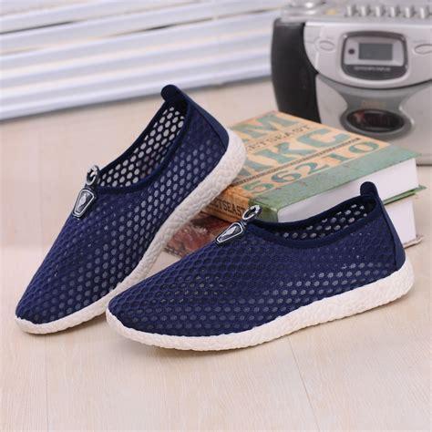Sepatu Mesh sepatu slip on mesh kasual pria size 43 blue