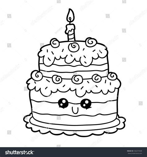 cute cake coloring pages vector illustration cute cartoon birthday cake stock
