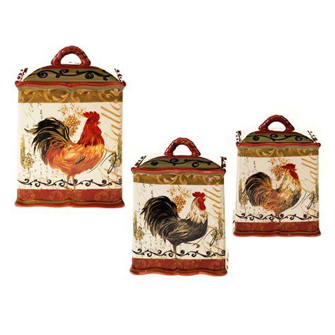 certified international golden rooster 4 piece canister certified international tuscan rooster red hand painted