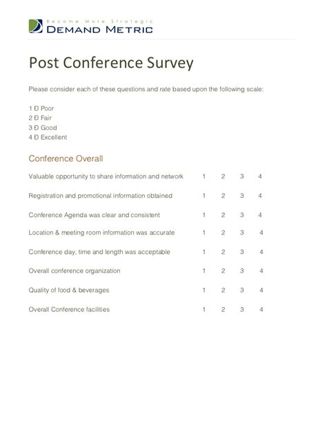 conference survey template post conference survey