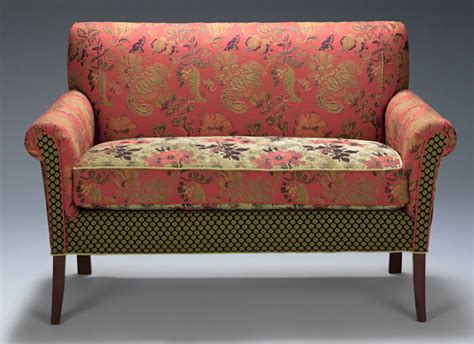 upholstered settee loveseat salon settee in melody rustic by mary lynn o shea