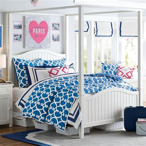 Canopy Bed Bedding Beadboard Canopy Bed Trundle Pbteen