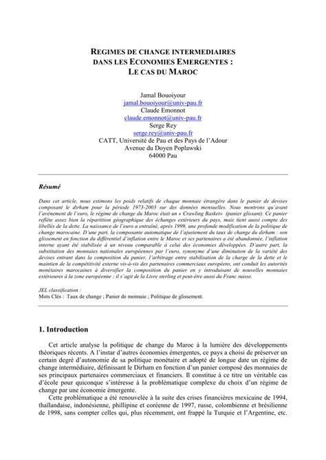 (PDF) Régimes de change intermédiaires dans les économies
