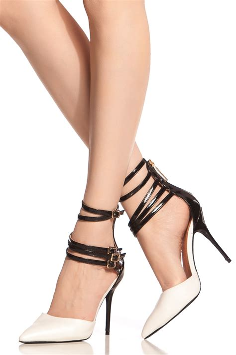 womens black and white high heels black white multi ankle pointed toe heels cicihot