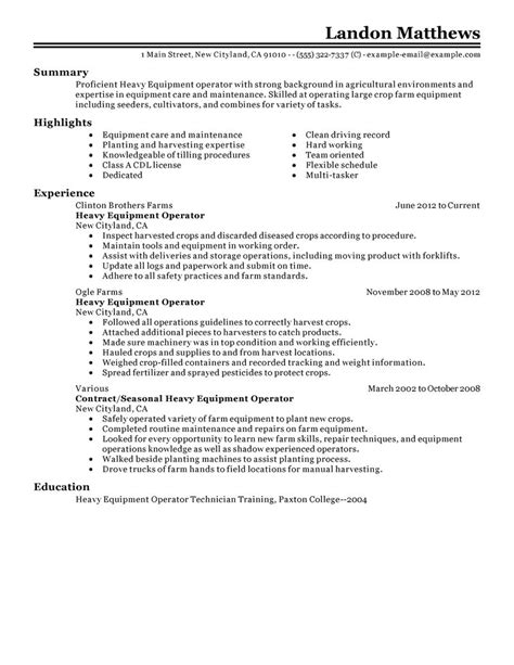 Resume Samples Hotel Management by Heavy Equipment Operator Resume Example Agriculture Amp Environment Sample Resumes Livecareer