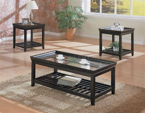 black contemporary 3pc coffee table set w beveled glass tops