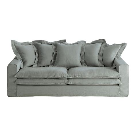 grey linen sofa 3 4 seater linen sofa in grey lisbonne maisons du monde