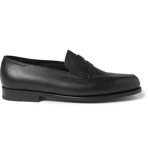 lobb loafers lobb grained leather loafers in black for