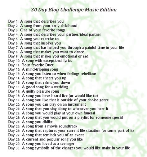 30 day music challenge day 1 a song you with a color in just chat 30 day song challenge day 1