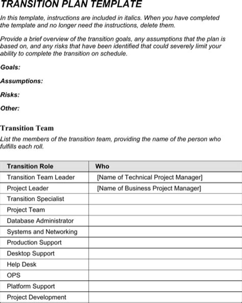 Transition Plan Template Templates Forms Pinterest Template Business Transition Plan Template