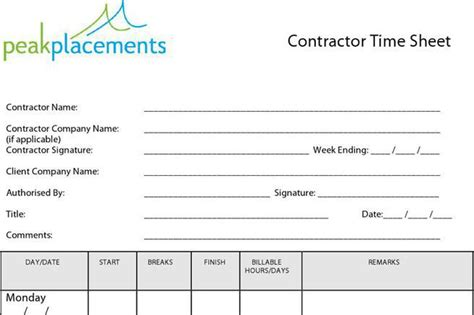 contractor timesheet templates download free premium